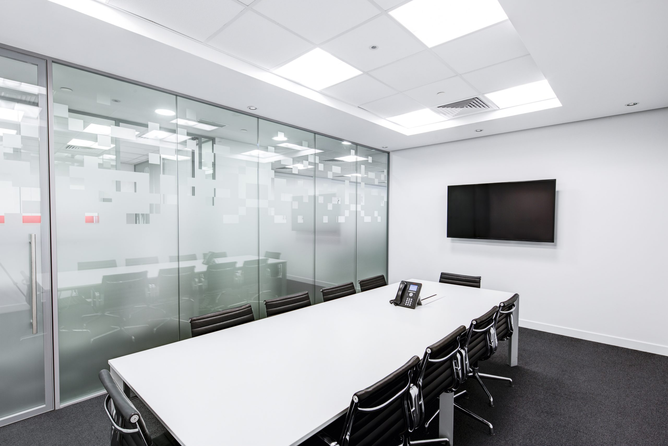 black and white boardroom